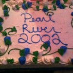 The Pearl River 2002 Class reunion cake is displayed at Emmett's Castle.